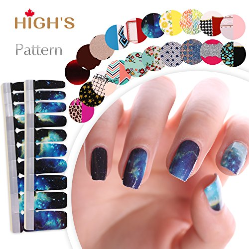 HIGH'S Upgrade EXTRE Adhesion Nail Wraps Decals Art Transfer Sticker Collection Manicure DIY Fullnail Polish Patch Strips for Wedding, Party, Shopping, Travelling, 20pcs(Galaxy)