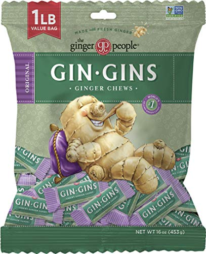 The Ginger People Gin Gins Chews 1 pound bag, Original Ginger, 16 Ounce