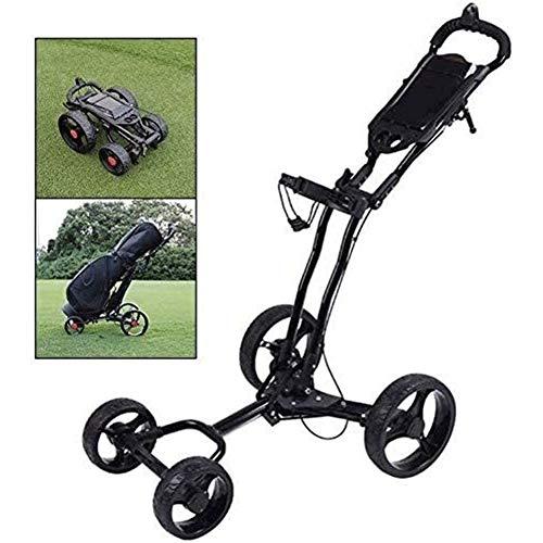 SJB Golf Trolley Golf-Trolley 4 Wheel, faltbar Leicht Golf Caddy mit Handbremse, Schirmständer, Getränkehalter, Glattes Rad, Multi-Funktions-Panel - Einfache Installation