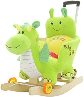 LITING Rocking Horse Rocking Horse Trojan Horse Plush Toys Children's Birthday Gifts Solid Wood Rocking Horse