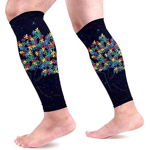 Huis boom puzzel autisme puzzels kalf compressie mouwen unisex been compressie sokken voor hardlopen medische 1 paar