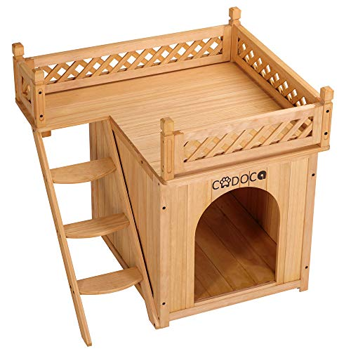 Deuba Cadoca Hundehütte mit Balkon und Treppe Katzenhöhle Hundehöhle Katzenhaus Holzhaus Tierhaus
