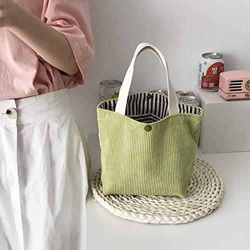 REBKW Bolsa de compras de pana para mujer, bolsa de lona para hombro, bolsa de almacenamiento ambiental, reutilizable, plegable, ecológica, bolsa de comestibles (mini verde claro)