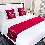 WYHQL Bettläufer Krone drucken heiße Strasssteine werfen Samtschal Quaste Dekor Mode Bettwäsche Schutz für Home Hotel Hochzeit Schlafzimmer (Color : Red, Size : 45x240cm (for 1.8m Bed))