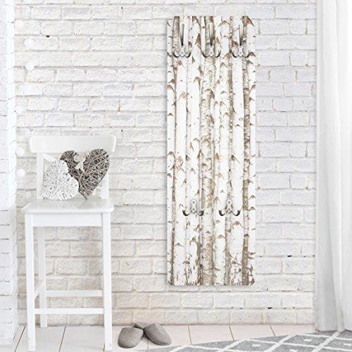Garderobe - Top Holzoptik Garderoben, Größe HxB: 139cm x 46cm, Motiv: No.YK15 Birkenwand