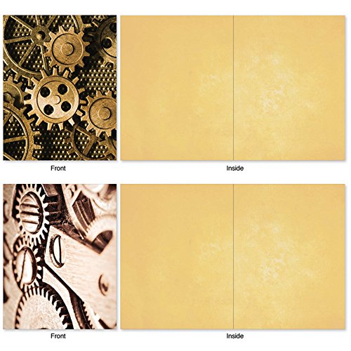 The Best Card Company, Gearing Up - 10 Assorted Blank Notecard Set (4 x 5.12 Inch) - Boxed, All Occasion Cards with Gears, Crank (Not Foil) M2014 Photo #4