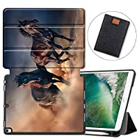 """MAITTAO iPad Air 3 (3rd Gen) 10.5"""" 2019 / iPad Pro 10.5"""" 2017 Case with Apple Pencil Holder,Soft TPU Back Shell Folio Stand Smart Cover 10.5 inch Tablet Sleeve Bag 2 in 1 Bundle, Akhal-Teke Horse 3"""