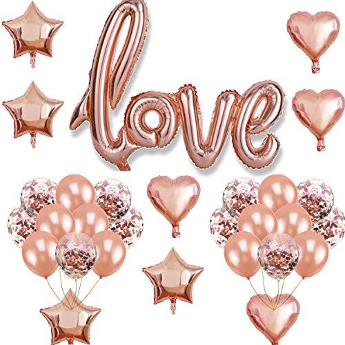 Oumezon Love Luchtballonnen, roségoud, folieballon, hart, folieballon, helium, latex, roségouden ballonnen voor Valentijnsdag, huwelijk, bruidsversiering, verjaardag, verloving, verjaardag