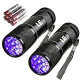 LE Small UV Blacklight Flashlight, Portable Black Light 395nm, Ultraviolet Light Detector for Invisible Ink Pens, Dog Cat Pet Urine Stain, AAA Batteries Included, Pack of 2
