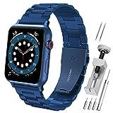 Hianjoo Cinturino Compatibile per Apple Watch 42 mm / 44 mm, Acciaio Inossidabile Braccialetto di Ricambio Cinturini Compatibile per Apple iWatch Series SE/6/5/4/3/2/1 - Blu