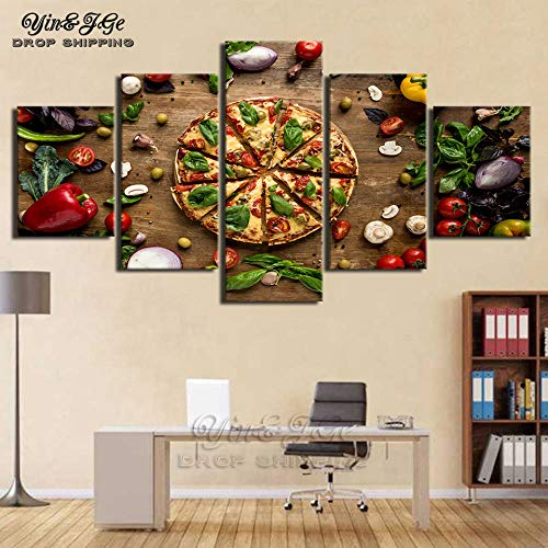 h a Moderne HD-Druck Wandkunst Leinwand Malerei 5 Stück Pizza Food Poster Bild Cuadros Dekoration Küchenrahmen Kunstwerk Vliesstoff Rahmenlose Pentas HA