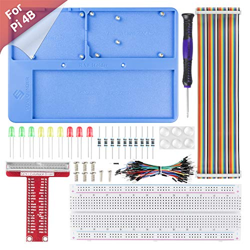 SUNFOUNDER RAB Holder Kit - Raspberry Pi Breadboard Kit with 830 Points solderless Circuit Board for Arduino & Raspberry Pi 4B, 3B+, 3B, 2B, 1 Model B+ A+