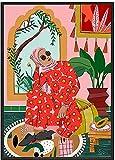 Marruecos abstracta moda niña cartel estilo nórdico estilo arte colorido plantas lienzo pintura de pared sala de estar casa vogue niña imagen decoración 40x60cmx1 sin marco
