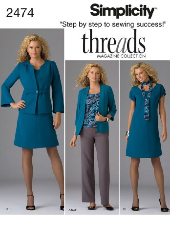 Simplicity Threads Magazine Pattern 2474 Women's Dress or Top, Pants, Jacket, Scarf, Knit Cardigan Size 10-18