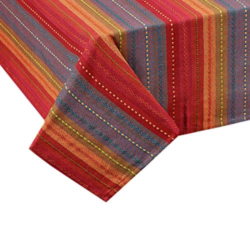 Lintex Southwestern Phoenix Stripe Indoor/Outdoor Casual Cotton Tablecloth, Textured Woven Rustic Striped Kitchen, Patio and Dining Room Tablecloth, 70 Round, Red