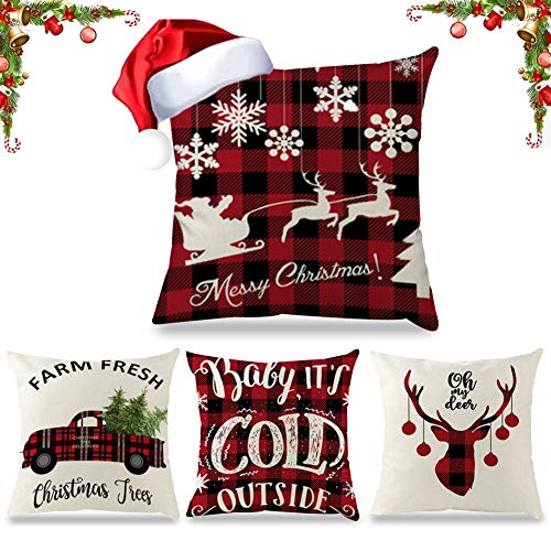 laqula Christmas Plush Throw Pillow Covers - 4 Pack 18 x 18 Inch Soft Solid Cushion Pillowcases for Home Sofa Bed Car Decoration with Hidden Zipper