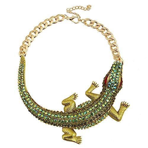 Winter's Secret Gargantilla con detalles de diamante exagerado grande de cocodrilo dorado con diseño de animales