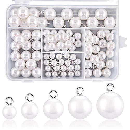 Yeelua Kit Botón Resina Perla Blanca 90 Piezas, elegantes complementos de decoración...