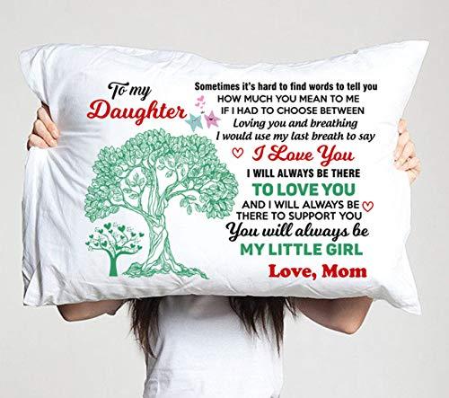 Kissenbezug mit Aufschrift 'To my daughter mom love you, you will always be my little girl', Geburtstagsgeschenk, Abschlussgeschenk für Tochter, Kissenbezug für Zimmer, Sofa
