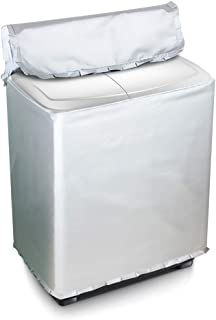 [Mr. You ]洗濯機カバー 二層式専用 独立の水入口のデザイン シルバー生地アップグレード (L, シルバー)