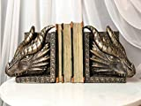 Ebros Gothic Guardians of Bibliography Brazen Twin Dragon Heads On Pediment Bookend Set Fantasy Legends Dungeons and Dragons Figurines Bookends Pair