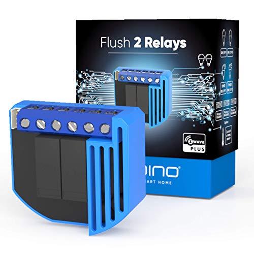 Qubino ZMNHBD1 Flush 2 Relay Interruttore a Doppio Relay, Funzione di Misurazione dell'Energia, Può Essere Connesso alla Rete, Blu