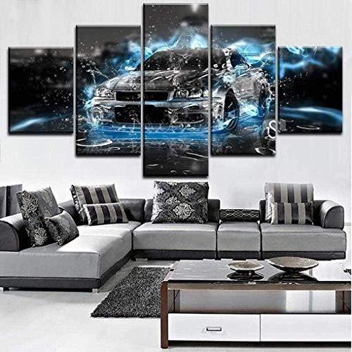 bnkrtopsu 5 Wandkunst Stück Leinwand 5 Leinwandbilder auf Leinwand für Heimdekoration und Poster Nissan GTR Auto (150x80cm Rahmenlos)