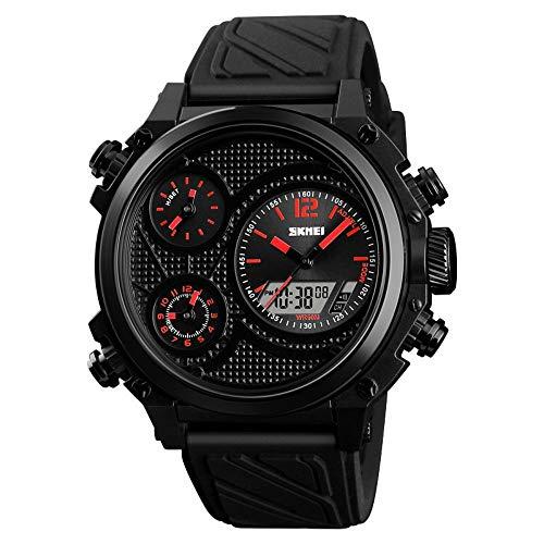 Smartwatches,Kreative Zeitlose Doppelanzeige Elektronische Uhren Mode Trendy Datum wasserdichte Uhren Gules