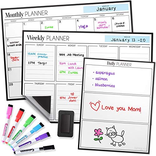 Magnetic Dry Erase Calendar Bundle for Fridge: 3 Boards Included - Monthly, Weekly, Daily Calendar Whiteboard 17x12