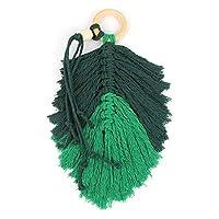 HYBJP マクラメートの壁掛けの家の装飾アクセサリー羽毛のチャーム車の壁掛けの自由奔放に生きる装飾手編まれたタペストリーの壁掛け (Color : 緑, Size : Fee)