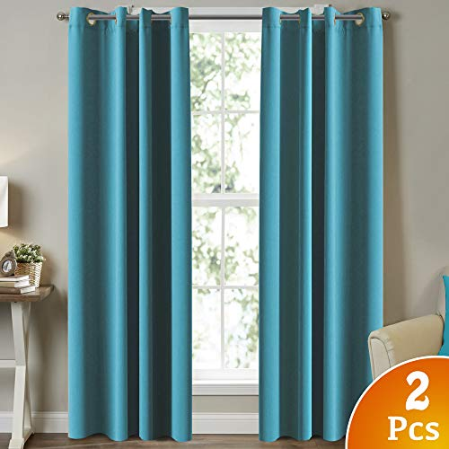 Turquoize Blackout Curtains Thermal Insulated Solid Grommet Blackout...
