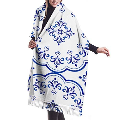 LREFON Winter Schal Damen Warm Baumwolle Leichtes Altes Chinesisches Blaues und Weißes Porzellan Pashmina Schals mit Quasten/Fransen
