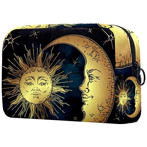 Golden Sun Croissant de lune et d'étoiles Portable Maquillage Sacs de Cosmétique Sac de Voyage Cosmétique Sac de Voyage pour Femmes