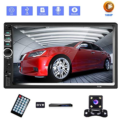 "YYKJ 2 Din Autoradio, Autoradio mit 7""LCD-Touchscreen Multimedia-Player Audio Stereo Bluetooth Car Audio Unterstützung Mirror-Link Rückfahrkamera Eingebautes Auto-DVR-System"