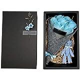 PQZATX Conjunto de Flores de JabóN Hecho a Mano Caja de Regalo de Oso DíA de San ValentíN Ramo de Flores de JabóN Regalo de Cumplea?Os del DíA de la Madre/Maestro Azul