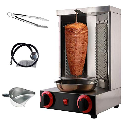 Shawarma Machine Doner Kebab Grill Propane Machine Vertical Broiler with 2 Burner for Commercial Home Restaurant Kitchen