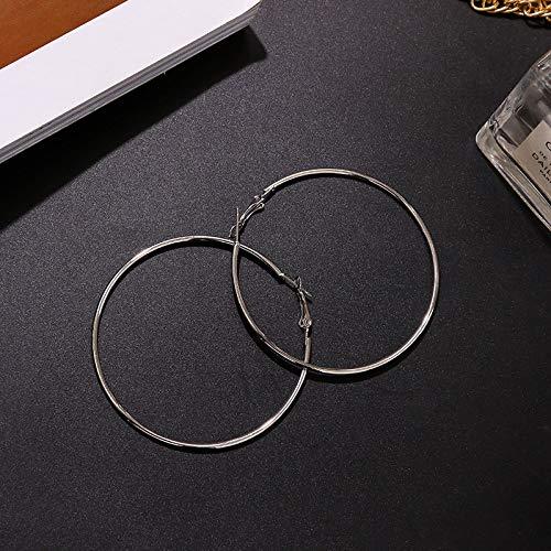 Damen Creolen Ohrringe,Mode Silber Glatte Kreis Ohrringe Durchbohrte Ohrringe Hypoallergen Leichte Creolen Kreis Schmuck Ohrringe Für Frauen Mädchen Party Hochzeit