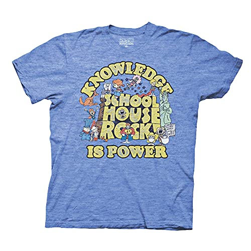 Ripple Junction Schoolhouse Rock Knowledge is Power T-Shirt Large Heather Royal