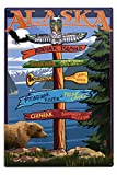 Lantern Press Kodiak Island, Alaska - Destinations Sign 33372 (6x9 Aluminum Wall Sign, Wall Decor Ready to Hang)