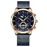 Relojes De Negocios para Hombre, Reloj De Cuarzo Dorado Negro De Moda, Reloj De Pulsera Impermeable para Hombre con Fecha Calendario 24cm Azul Dorado