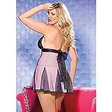 Shirley of Hollywood Nummer x96389Größe 1/2x pink/schwarz Stretch Spitze und Netz Babydoll