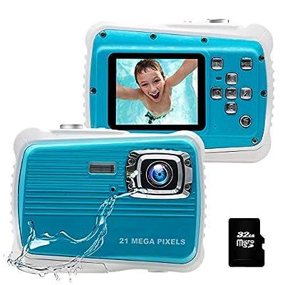 Kids Camera, 21MP HD 3M Waterproof Digital Camera for Kids, 2.0 Inch LCD Display, 8X Digital Zoom,Flash and Mic for Boys Girls Kids?Blue? from KIDSCAM