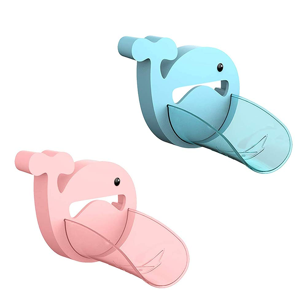 Faucet Extender 2PCS, Blue & Pink Bathroom Extension Spout Accessories, Faucet Extender Sink for Kids Adapter Easy Assembly for Kitchen Cartoon Crab Faucet Cover