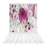 Muzi 150x250cm flores fondo para estudio de fotografía blanco suelos de madera telón de fondo la fotografía de bodas telón de fondo fondo fotográfico de vinilo xt-4344