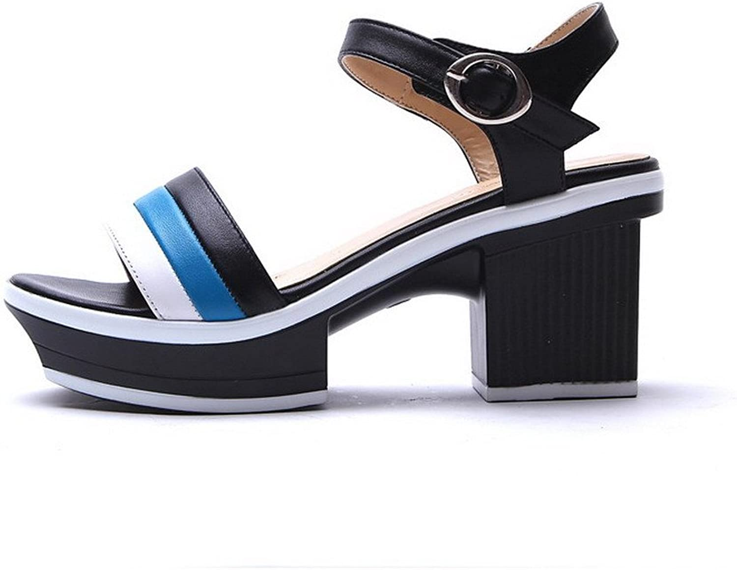 WeiPoot Women Open Toe High Heels Cow Leather Soft Material Assorted colors Sandals, Black, 7.5 B(M) US