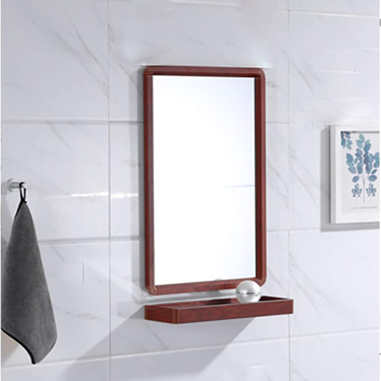 JUCAIYUAN Mirror Wall-Mounted Mirror Large Flat-Frame Wall Mirror Vanity Mirror Washbasin Mirror with Bathroom Shelf (color   Redwood, Size   60X40CM)