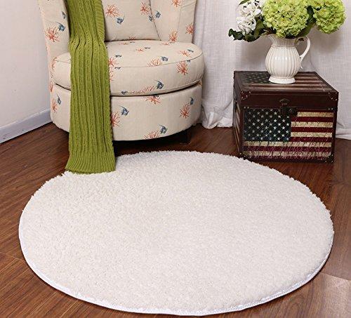 GJ Moquette ronde en coton Shu de 140 cm, tapis de lit de chambre, fauteuil d'ordinateur chaise pivotante panier panier, tapis anti-rayures plancher (Couleur : Milk white)