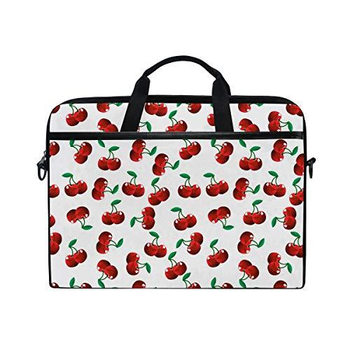 FOURFOOL 15-15.6 inch Laptop Bag,Vibrant Cherries Vitamin Agriculture Exotic Summer Garden Pattern Velvet Plush,New Canvas Print Pattern Briefcase Laptop Shoulder Messenger Handbag Case Sleeve