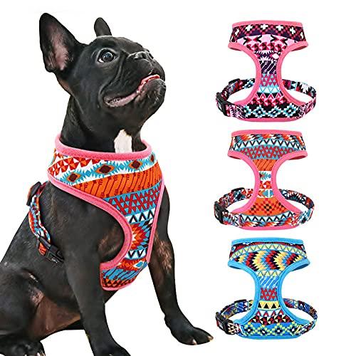 NIUBICLAS Chaleco de arnés de perro de nylon transpirable sin tirón reflectante ajustable impreso arnés para mascotas para perros medianos chaleco de refrigeración para mascotas