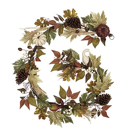 Valery Madelyn 6 Feet Fall Garland with Maple Leaves White Pumpkin Pine Cone Berries, Hanging Artificial Autumn Garland for Thanksgiving Decor Mantle Wedding Party Outdoor Home Fireplace